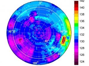 Карта средних температур (в Кельвинах) около южного полюса Весты (nasa.gov)