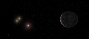 Взгляд художника на планету GJ 667Cc (space.com)