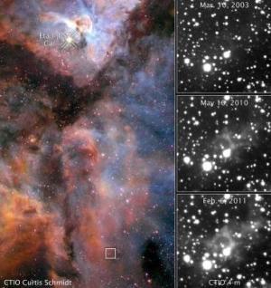 Эта Киля находится сверху изображения Туманности Киля, облако газа, отразившее свет - внизу (carnegiescience.edu)
