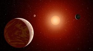 Взгляд художника на красный карлик и три планеты около него (space.com)