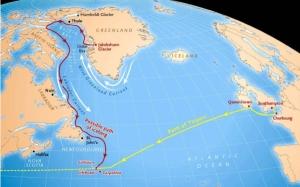 Путь Титаника и возможный путь гренландского айсберга (space.com)