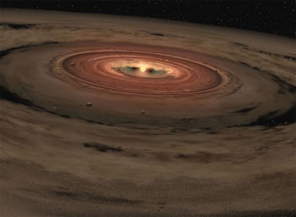 Взгляд художника на молодую звезду, окруженную диском газа и пыли (space.com)