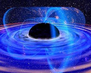 Черная дыра с аккреционным диском в видении художника (wikipedia.org)