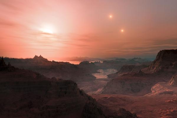 Две звезды на небе Gliese 667 Сс как их видит художник (eso.org)