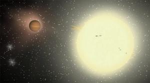 Взгляд художника на планету TrES-4, в 1.4 раза превышающую по размеру Юпитер (space.com)