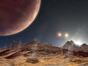 Взгляд художника на пейзаж HD 188753 Ab, планеты тройной системы звезд (wikipedia.org)