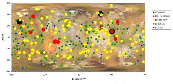 Карта распределения вулканов по мощности излучения (nasa.gov)