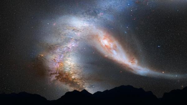 Взгляд художника на смешение галактик (hubblesite.org)