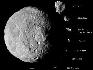 Разные размеры астероидов (wikipedia.org)