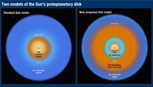 Сравнение деления аккреционного диска звезды в двух моделях (hubblesite.org