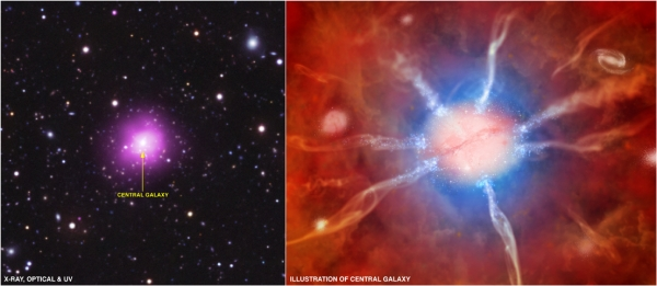 Снимок скопления и модель центральной галактики (cfa.harvard.edu)