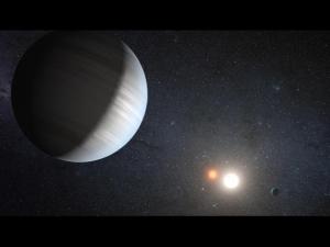 Рисунок планеты, обращающейся вокруг двух звезд (sdsu.edu)
