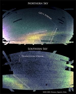 Потоки звезд, поглощаемых Млечным путем (yale.edu)