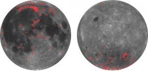 Сравнение найденных мест, богатых пироксенами, на ближней (слева) и дальней стороных Луны (space.com)