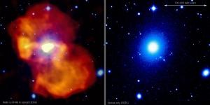 Радио (желтый) и оптическое (синий) излучение центра галактики (mpg.de)