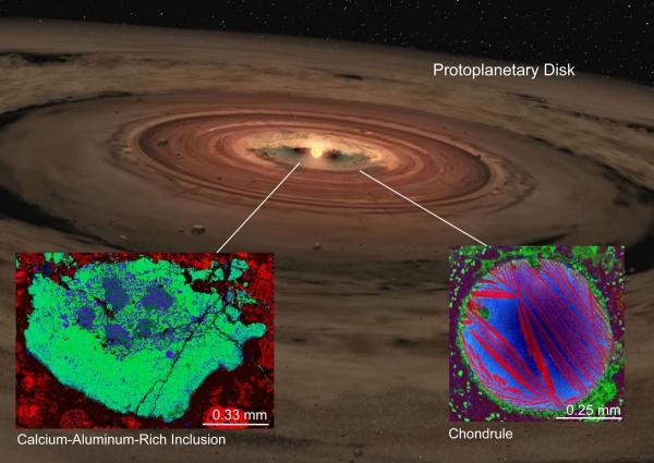 Снимок хондрул и включений под микроскопом (space.com)