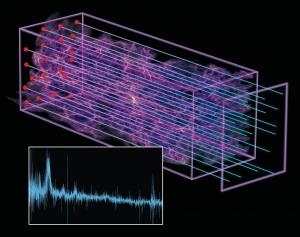 Иллюстрация искажения спектра при его путешествии через Вселенную (psace.com)