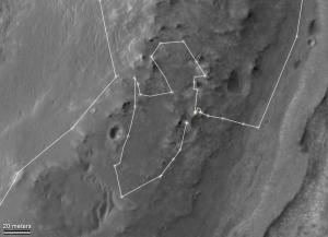 Круг, который сдела марсоход вокруг небольшого холма (nasa.gov)