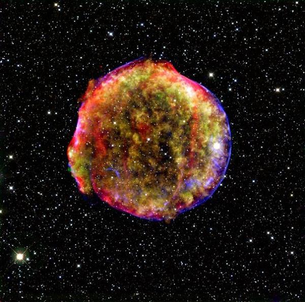 Изображение сверхновой SN 1572 в псевдоцветах (wikipedia.org)