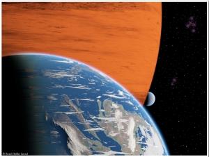 Рисунок обитаемой луны около газового гиганта (aip.de)