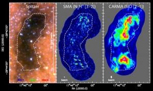Инфракрасный снимок, наличие сгустков и моноксида кремния (caltech.edu)