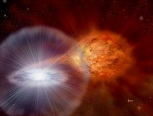 Рисунок двойной системы и взрыва (sciencedaily.com)