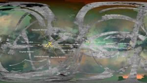 Карта покрытой Кассини поверхности Титана и его горы (nasa.gov)