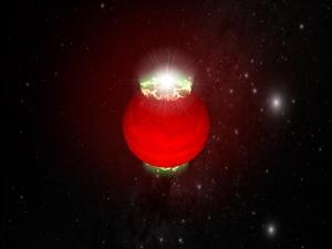 Рисунок сияния на полюсах карлика (space.com)