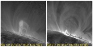 Магнитный жгут перед выбросом (слева) и его отсутствие в снимке меньшей температуры справа (nasa.gov)