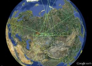 Схема распространения звковых волн, зафиксированных приемными станциями (space.com)