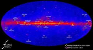 Пульсары с гамма-излучением накарте Ферми (wikipedia.org)