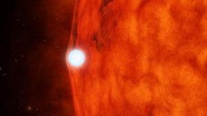 Рисунок белого карлика, искажающего излучение звезды (space.com)