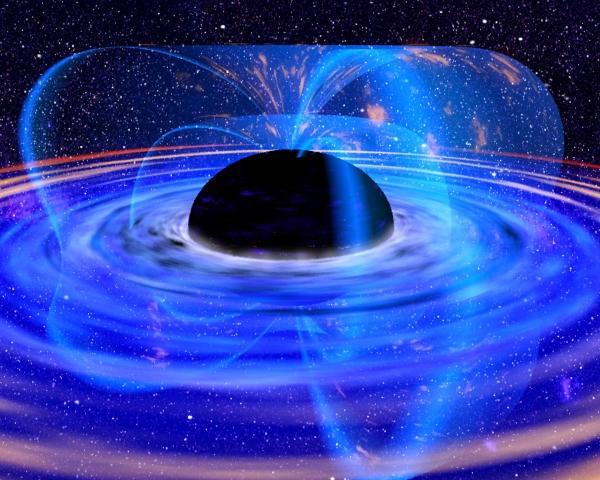Черная дыры в центре галактики глазами художника (изображение - gatech.edu)
