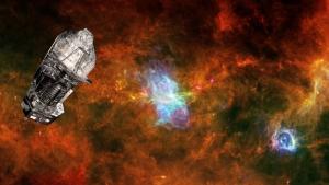 Рисунок телскопа на фоне звездного скопления (esa.int)