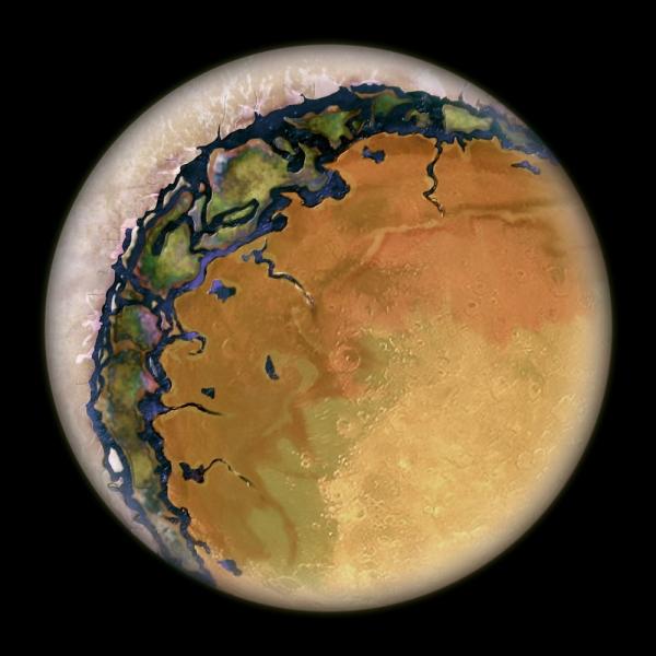Рисунок планеты, с одной стороны покрытой льдами (space.com)
