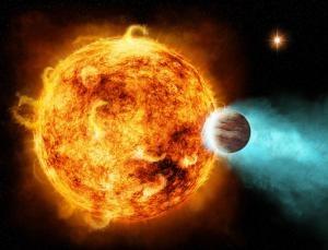 Рисунок газового гиганта, задевающего атмосферу звезды (newscientist.com)