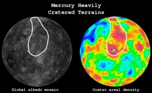 Альбедо и плотность кратеров Меркурия, белым обведена наиболее пострадавшая в бомбардировке область (phys.org)