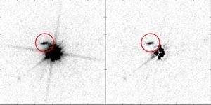 Яркий квазар в центре и заслоняющая часть его света галактика (universityofcopenhagen)