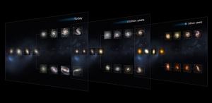 Срезы видов галактик во времени (space.com)