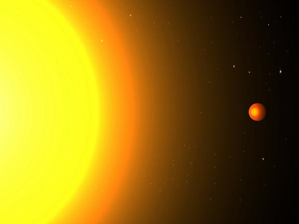 Рисунок планеты рядом со звездой (phys.org)