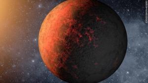 Возможный вид планеты: обращенная к звезде сторона расплавлена, обратная застыла (cnn.com)