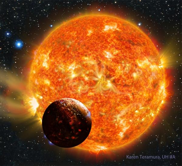 Рисунок похожей на Землю планеты Кеплер-78b (hawaii.edu)