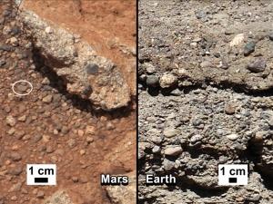 Древнее русло ручья и галька на Марсе и Земле (space.com)