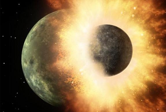 Рисунок удара, родившего Луну (space.com)