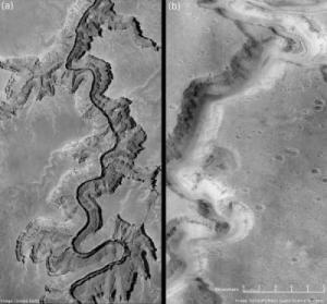 Сравнение древних русел в Великом каньоне и на Марсе (psu.edu)