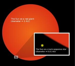 Сравнение текущего размера Солнца и красного гиганта (phys.org)
