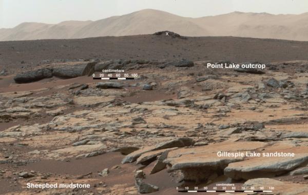 Панорама отложения в кратере (nasa.gov)
