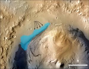 Предполагаемое место озера в кратере (nasa.gov)