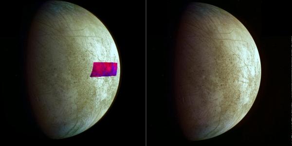 Наложенный на оптическую картину спектральный снимок, на котором голубым выделяются глины (universetoday.com)