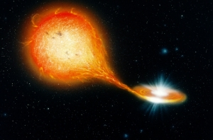 Рисунок поглощения нейтронной звезды гигантом (nature.com)